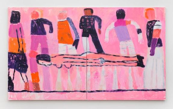 Katherine Bradford, <em>All of Us</em>, 2018. Acrylic on canvas. Diptych: 80 x 136 inches. Courtesy Canada Gallery.