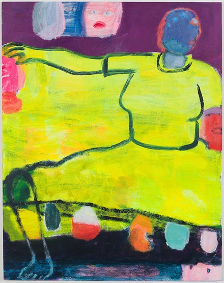 Katherine Bradford, <em>Yellow Dress</em>, 2018. Acrylic on canvas, 84 x 66 inches. Courtesy Canada Gallery.