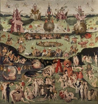 Contemporary follower of Hieronymus Bosch, <em>The Garden of Earthly Delights</em>, c. 1515. Private collection. Courtesy Nicholas Hall and David Zwirner.