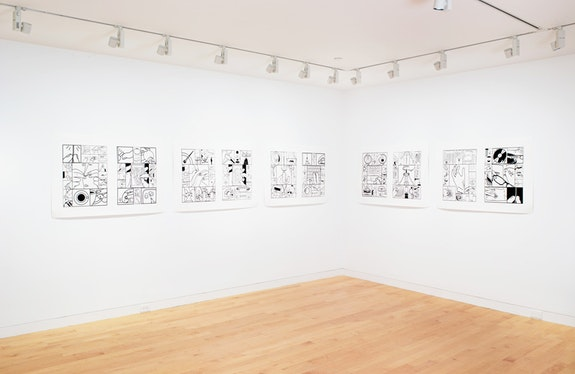 <p><em>Richard McGuire: The Way There and Back </em>(installation view), The Aldrich Contemporary Art Museum, May 20, 2018 – January 13, 2019. Photo: Jason Mandella.</p>.