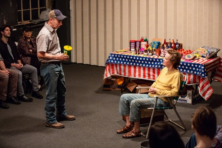 Left to right: Arnie Burton and Kristin Griffith in <em>Lewitson</em>, part of <em>Lewitson/Clarkston</em> at Rattlestick Playwrights Theater. Photo by Jeremy Daniel.