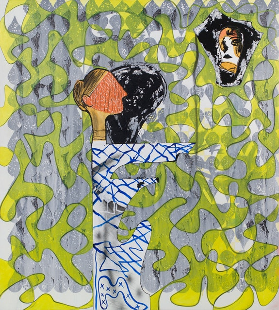 <p>Charline von Heyl, <em>Poetry Machine #2</em>, 2018. Acrylic, charcoal and oil on linen</p> <p>82 x 74 inches. Courtesy the artist and Petzel, New York.</p>