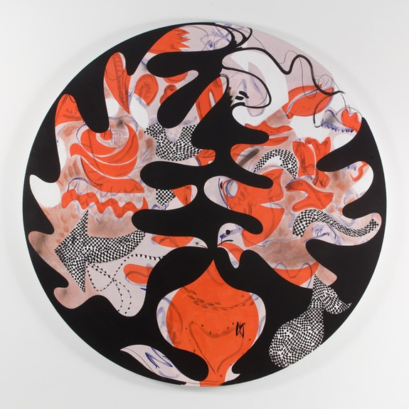 <p>Charline von Heyl, <em>Tondo</em>, 2017. Acrylic and charcoal on linen, 80 inches diameter. Courtesy the artist and Petzel, New York.</p>