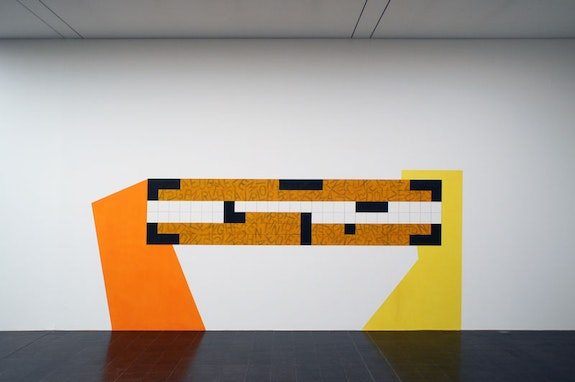 David Tremlett, Bruce Chatwin (What am I doing here, p136), (2009), installed in Tremlatt's exhibition, Drawing Rooms, a the Kunsthalle in Hamburg in 2010. Image courtesy the artist.