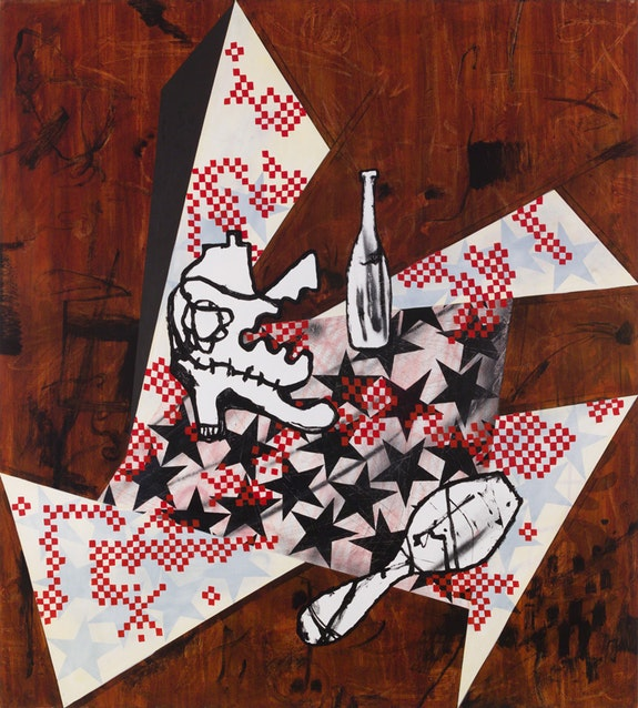 Charline von Heyl, <em>Hero Picnic</em>, 2018. Acrylic and oil on linen, 82 x 74 inches. Courtesy the artist and Petzel, New York.