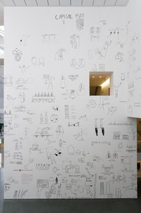 "Dan Perjovschi, ""WHAT HAPPENED TO US?"" (2007). Permanent marker on wall. Installation view. The Museum of Modern Art, New York. © 2007 Dan Perjovschi."