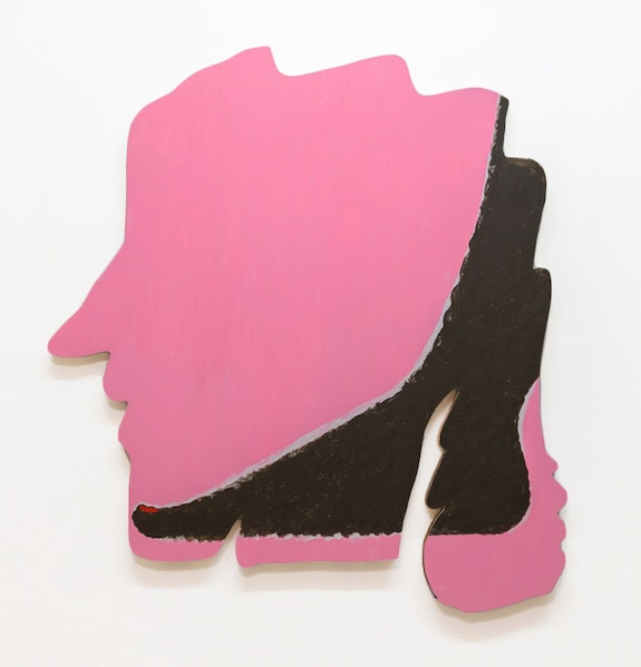 James English Leary, <em>Casual Lover</em>, 2018. Acrylic on shaped panel, 55 x 48 inches. Courtesy the artist and Nathalie Karg Gallery, New York.