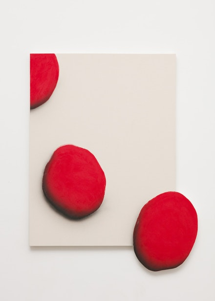 James English Leary, <em>Exit (The Bursting Grape)</em>, 2016. Acrylic on shaped canvas, 41 x 52 inches. Courtesy the artist and Nathalie Karg Gallery, New York.