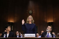 Christine Blasey Ford testifies during Supreme Court Nominee Brett Kavanaugh's confirmation hearing, September 27, 2018. Photo: Win McNamee/Pool via Bloomberg/Getty Images.
