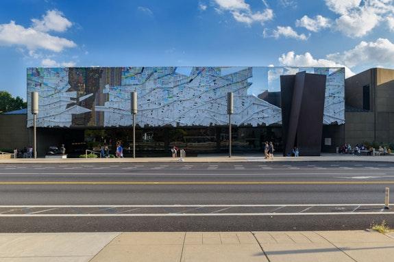 El Anatsui, <em>Three Angles</em>, installation view, 2018. 57th Carnegie International. Photo: Bryan Conley. Courtesy the artist and Jack Shainman Gallery.