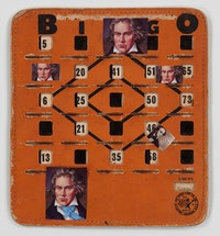 John Ashbery, <em>Bingo Beethoven</em>, 2014. Collage on vintage Bingo board, 8 1/4 x 7 1/2 inches. © Estate of John Ashbery. Courtesy Tibor de Nagy Gallery, New York.
