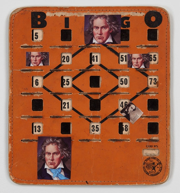 John Ashbery, <em>Bingo Beethoven</em>, 2014. Collage on vintage Bingo board, 8 1/4 x 7 1/2 inches. &copy; Estate of John Ashbery. Courtesy Tibor de Nagy Gallery, New York.