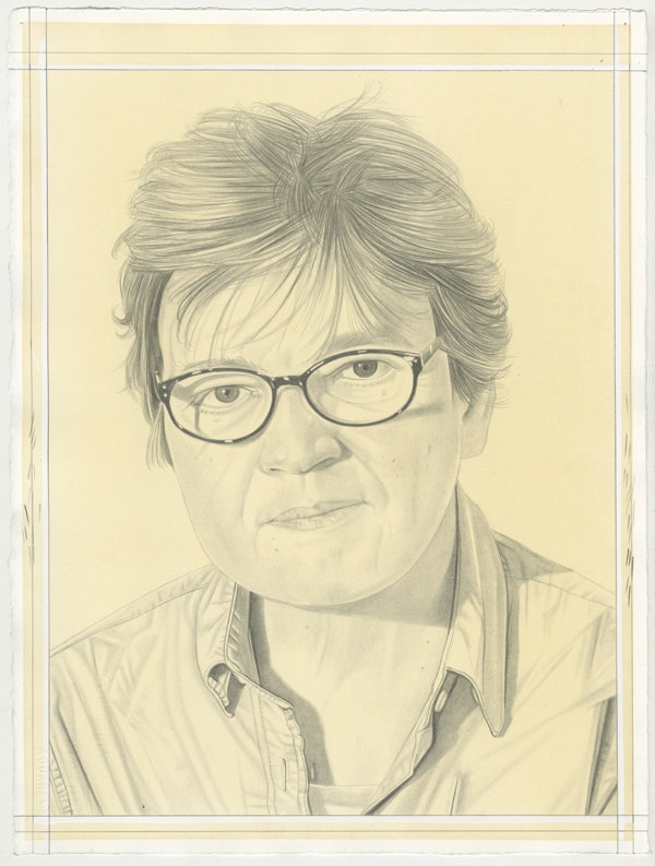 Portrait of Jo Melvin, pencil on paper by Phong Bui.