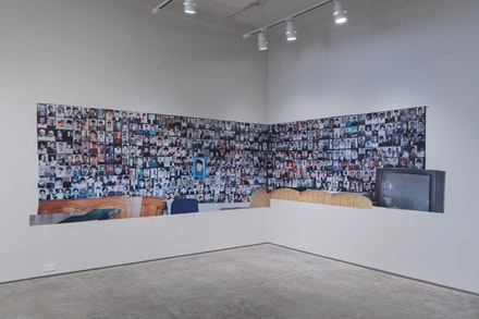 Aida &Scaron;ehovi&cacute;, <em>Family Album (&Scaron;to Te Nema): Wall 6 and 7</em>, 2018. SAV wallpaper, 126 x 61 &amp; 154 x 61 inches.