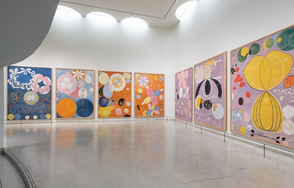 Installation view: <em>Hilma af Klint: Paintings for the Future</em>, Solomon R. Guggenheim Museum, New York, October 12, 2018–April 23, 2019. Photo: David Heald. © 2018 The Solomon R. Guggenheim Foundation.