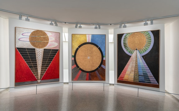 Installation view: <em>Hilma af Klint: Paintings for the Future</em>, Solomon R. Guggenheim Museum, New York, October 12, 2018&ndash;April 23, 2019. Photo: David Heald. &copy; 2018 The Solomon R. Guggenheim Foundation.