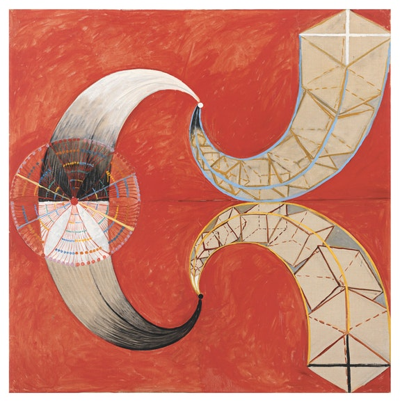 Hilma af Klint, <em>Group IX/SUW, The Swan, No. 9 (Grupp IX/SUW, Svanen, nr 9), </em>1915. <em>The SUW/UW Series (Serie SUW/UW)</em>. Oil on canvas, 149.5 x 149 cm. The Hilma af Klint Foundation, Stockholm. Photo: Albin Dahlström, The Moderna Museet, Stockholm.