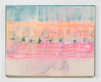 Frank Bowling, <em>Regatta</em>, 2017. Acrylic on collaged canvas, 58.27 x 73.31 inches. Courtesy Alexander Gray Associates, New York; Hales Gallery, London. © 2018 Frank Bowling.