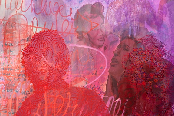 <p>Firelei Báez, <em>To write fire until it is every breath </em>(detail), 2018 Acrylic on canvas, 108 × 192 in. Courtesy the artist and Kavi Gupta Gallery, Chicago Photo: Adam Reich</p>