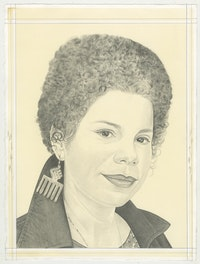 Portrait of Firelei Báez, pencil on paper by Phong Bui. Based on a photo by Lia Clay.
