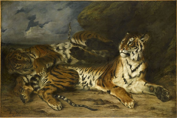 Eugène Delacroix, <em>Young Tiger Playing with Its Mother</em>, 1830. Oil on canvas. 130 x 195 cm. Musèe du Louvre, Paris. © RMN-Grand Palais (Museìe du Louvre) / Franck Raux.