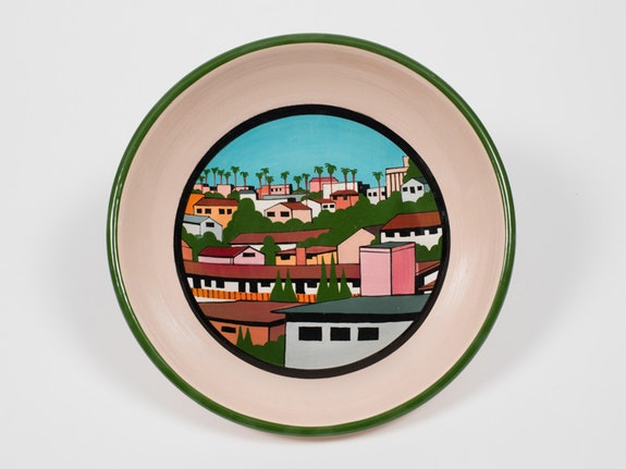 Ken Price, <em>LA Bowl/Untitled City Scape</em>, 1990s. Painted and glazed ceramic, 2 1/2 x 8 3/4 x 8 3/4 inches. © Estate of Ken Price, Courtesy Matthew Marks Gallery.