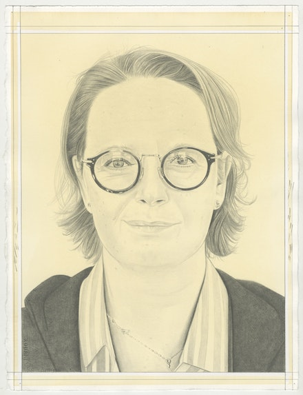 Portrait of Charline von Heyl, pencil on paper by Phong Bui.