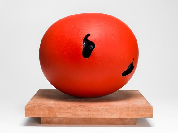 Ken Price, <em>Red Egg</em>, 1968. Fired and painted clay, 13 1/2 x 16 x 14 1/4 inches. © Estate of Ken Price, Courtesy Matthew Marks Gallery.
