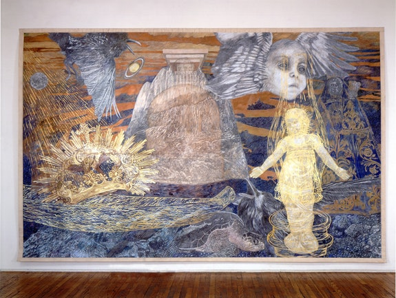 <p>Ann McCoy,<em>Lunar Birth</em>, 2001, pencil on paper on canvas, photo credit Zindman/Fremont</p>