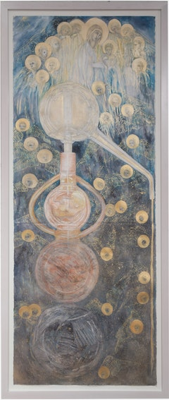 <p>Ann McCoy,<em> Journey Through the Nigredo</em>, 2015, 77 ¾ inches by 30 ¼ inches, pencil, watercolor, and metallic paint on hand made paper, Photo credit Peter Dressler</p>