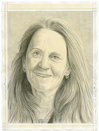 Portrait of Ann McCoy, pencil on paper by Phong Bui.