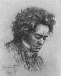Beethoven. Drawing by Michel Katzeroff.