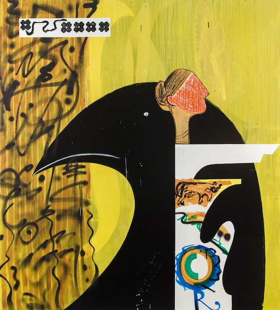 Charline von Heyl, <em>Poetry Machine #3</em>, 2018. Acrylic and oil on linen. Courtesy the artist and Petzel, New York.