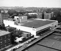 EXTERIOR VIEW FROM THE SOUTHEAST, SEEN FROM ABOVE, WHEN THE STORE WAS NEW (copyright unknown. Courtesy of  the Long Island Collection of the Queens Library)