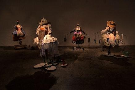 <p>Suzanne Bocanegra, <em>La Fille</em>, installation view (detail) at The Fabric Workshop and Museum. Photo: Carlos Avenda&ntilde;o.&nbsp;</p>