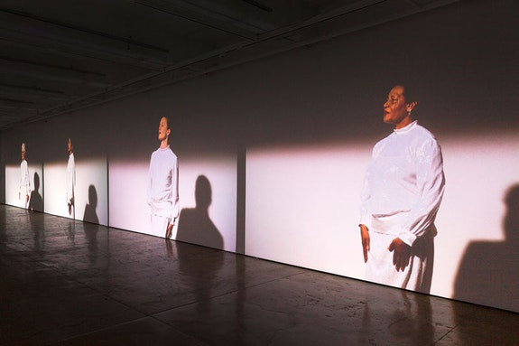 <p>Suzanne Bocanegra, <em>Valley</em>, installation view (detail) at The Fabric Workshop and Museum. Performers from left to right: Joan Jonas, Tanya Selvaratnam, Wendy Whelan, and Carrie Mae Weems. Photo: Carlos Avendaño.</p>
