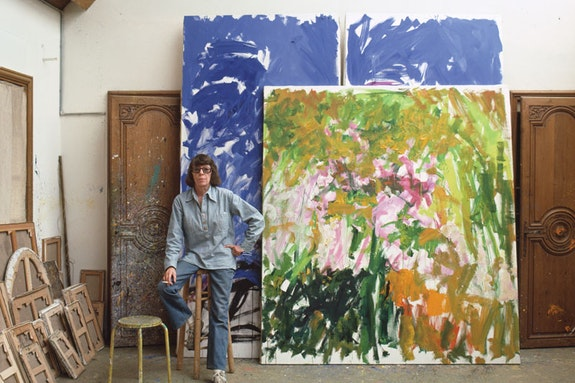 <p>Joan Mitchell in her V&eacute;theuil studio, 1983. Photograph by Robert Freson, Joan Mitchell Foundation Archives. &copy; Joan Mitchell Foundation.</p>