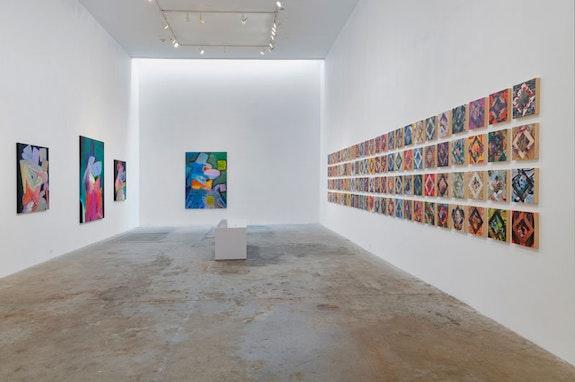 Installation view of Rhys Lee: <em>Good Boy</em> and Kevin Bourgeois: <em>Wall of Sound</em>, 2018. Courtesy Olsen Gruin.