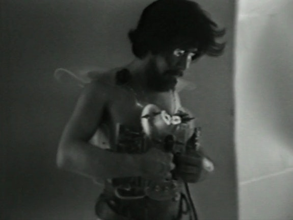 Video Still from <em>Synthesizer Jacket #2</em>, July 28, 1976. Courtesy Gary Jacquemin, Midori Yoshida, and Ulterior Gallery