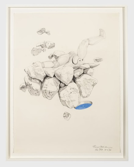 Minoru Yoshida, <em>Space Doll, September 25, New York</em>, 1974. Graphite and watercolor on paper, 29 1/2 x 22 inches. Courtesy Ulterior Gallery.