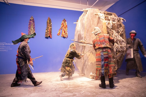 Kyzyl Tractor Art Collective, <em>Focus Kazakhstan: Thinking Collections: Telling Tales</em>, Mana Contemporary, 2018. ACAW Signature Exhibition. Courtesy Asia Contemporary Art Week & The National Museum of Kazakhstan. Photo: Michael Wilson.