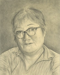 Portrait of the artist. Pencil on paper by Phong Bui