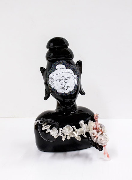 Joyce J. Scott, <em>Buddha (Wind)</em>, 2013. Hand-blown Murano glass processes with beads, wire, and thread, 20 1/2 x 12 1/2 x 13 inches. Courtesy the artist and Peter Blum Gallery, New York.