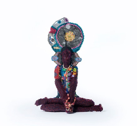 Joyce J. Scott, <em>Harriet As Buddha</em>, 2017. Glass beads, plastic beads, thread, and stone. Courtesy the artist and Peter Blum Gallery, New York.