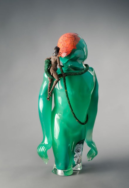 Joyce J. Scott, <em>Buddha (Earth)</em>, 2013. Hand-blown Murano glass processes with beads, wire, thread, 27 1/2 x 11 1/4 x 11 1/2 inches. Courtesy Goya Contemporary Gallery, Baltimore. © Joyce J. Scott and Goya Contemporary Gallery.