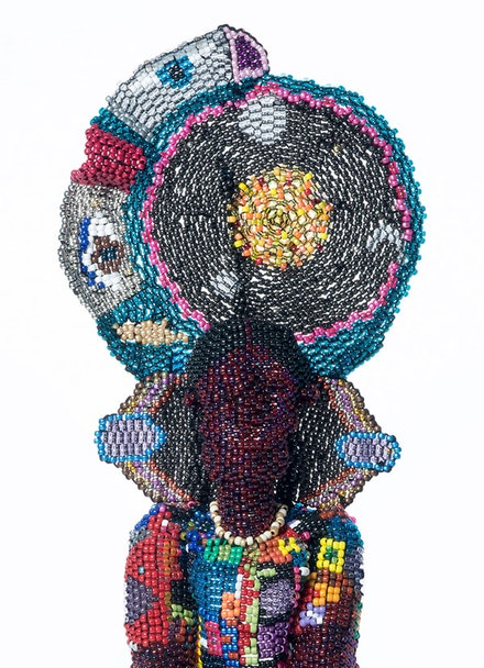 Joyce J. Scott, <em>Harriet As Buddha</em> (detail), 2017. Glass beads, plastic beads, thread, and stone. Courtesy the artist and Peter Blum Gallery, New York.