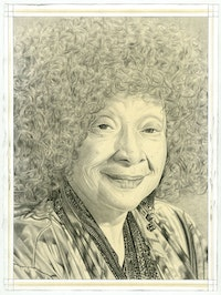 Portrait of Joyce J. Scott, pencil on paper by Phong Bui.