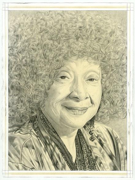 Portrait of Joyce J. Scott, pencil on paper by Phong Bui.