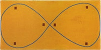 "Elizabeth Murray, Möbius Band (1974). Oil on canvas 14 x 28"". Collection ellen Phelan and Joel Shapiro."