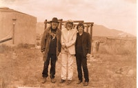Peter Young, Ron Davis and Ronnie Landfield at Davis' rural compound outside of Taos, (c. 1990s.) Marilyn Jennifer Landfield.